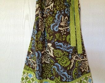 Girl's Pillowcase Dress - Green & Brown Damask
