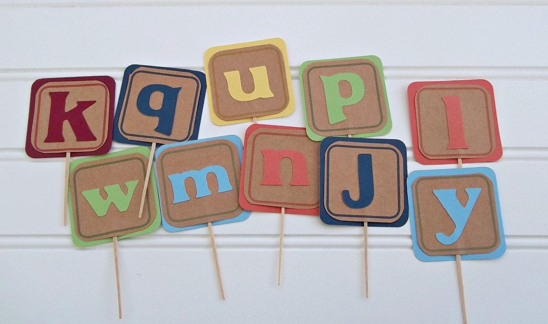 Cake Decorations Letter Blocks : alphabet blocks cake toppers ABC s blocks birthday ABC