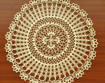 Yellow round crochet doily No.23