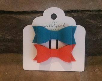 Turquoise and Orange Felt Bow Set