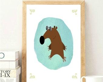Mouse Nursery Print, Mouse Cartoon Print, Nursery Wall Art, Kids Room Wall Art, Baby Room Decor, Nursery Wall Decor, Green Nursery Decor