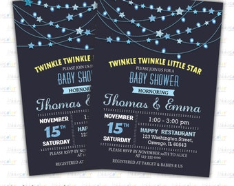 Digital Printable Baby Shower Invitation. Star Baby Shower Invitation. Twinkle Star Baby Shower invite