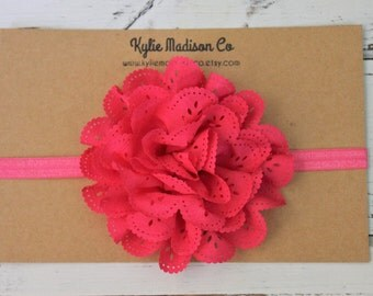 baby headband, fuchsia flower elastic headband