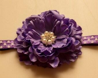 Large Purple Peony Flower Pearl Rhinestone Center on Purple Polkadot FOE