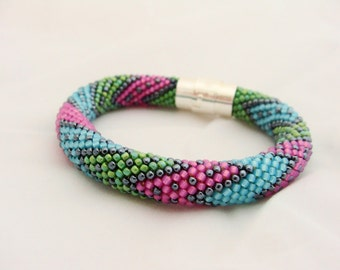 Bead Crochet Bracelet, Seed Bead Bracelet, Beadwork Bracelet, TOHO Beads, Green Pink and Blue IneseLoft
