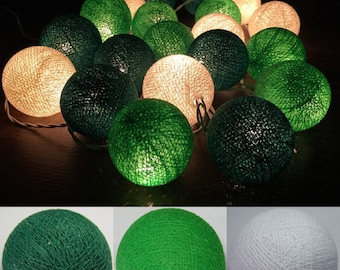 Mix,Green- Cotton Ball String Lights Fairy lights Party Decor Wedding