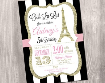 Paris Invitation, Eiffel Tower Invitation, Paris Birthday Invitation, Printable Paris Invitation, Ooh la la, French theme party, Paris Party