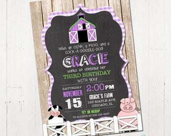 Purple Farm Birthday Invitation, Girl Farm Invitation, Purple farm invite, Barnyard Invitation, Farm Animal Birthday, Printable Invitation