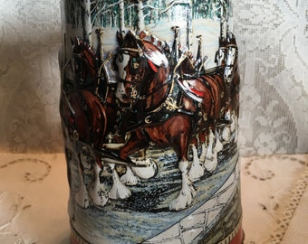 1988 Budweiser Clydesdales Christmas Holiday Stein by Ceramarte Brazil, Christmas