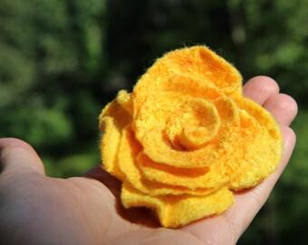 Yellow Rose, Felt Yellow Rose Valentine Gifts  Flower Felted brooch Felt Rose brooch Fancy flower Felt brooch Wool felted flower