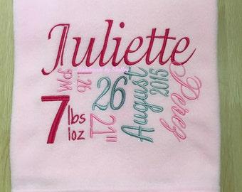 PERSONALISED embroidered keepsake BABY BLANKET Supersoft Fleece gift