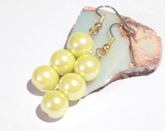 Yellow earrings, pearl earrings yellow, dangle earrings, fashion earrings, bridesmaid earrings, yellow pearl earrings