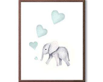 Animal Nursery Art, Childrens Elephant Decor, Kids Room Art, Watercolor Painting, Baby Elephant, Baby Boy, Art Print - E289W