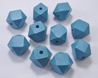 Wooden Bead - 50PCS 20mm Peacock Blue Faceted Wood Beads 14 Hedron Geometric Figure Wooden beads.
