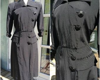 Amazing 1940s dress, 1940s, classic, suit dress, business woman, vintage dress, larger size, size l xl, black 1940s dress