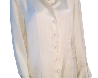 Nipon Studios Ivory Silk Buttondown Blouse - Size Large