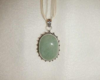Aqua Amazonite pendant necklace set in .925 sterling silver (P399)