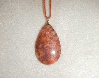 Large Teardrop shaped Rust-Orange Crazy Lace Agate pendant (JO351)
