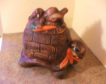 Vintage 1960s California Originals Turtle and Hare Cookie Jar