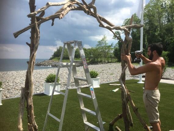 Large driftwood arbor pieces design build your own for Arche de jardin en bois