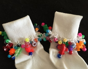 Girls Beaded Embellished Socks Gypsy Trinkets Carnival Beads Boho Fun