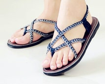 Size 6 - Paula style - Blue white color - Rope sandals - Braid rope - Nylon sandal - Rubber sandals - knitting sandals - Playful sandal