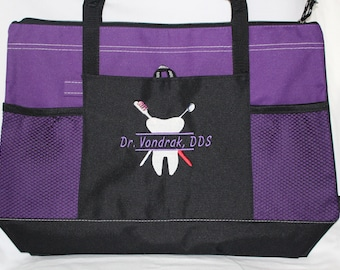 Dental Hygienist Tote Bag; Personalized Dentist Gift; embroidered Dental hygiene gift
