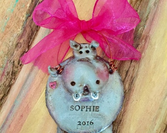 Personalized, Custom, Hippo / Dentist / Braces / Zoo Animal Keepsake Holiday Ornament