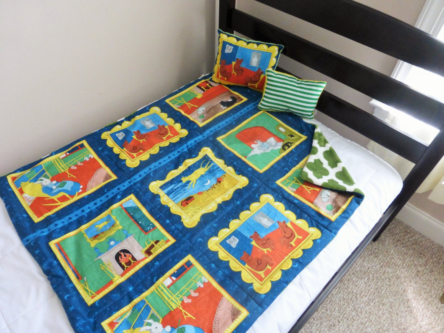 Goodnight moon baby toddler quilt cotton fleece by fortyravens for Moon and stars fleece fabric