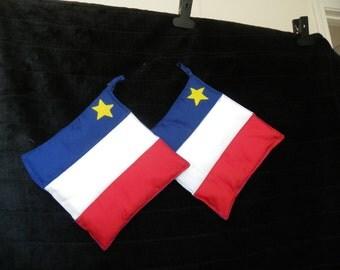 Acadian Pot Holders,Reversible Potholders,Hanging Potholders, Pot Holders,Potholders, Red White Blue Potholders,Blue Potholders,Red Potholde