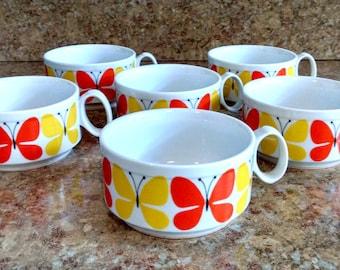Retro Soup Mugs / Orange and Yellow Butterflies / Mod Soup Mugs / Set of 6 Soup Mugs