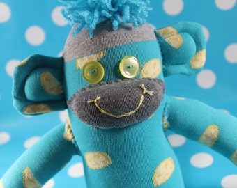 Sock Monkey / Lemon Wedges / Blue Yellow Grey / Foodie Gift / Decoration / Gifts for Her / Food Decor / Fruit Decor / Blue and Yellow