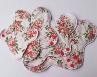 Vintage Roses ~ Minky Cloth Pads, Mama Cloth, Menstrual Pad, Cloth Menstrual Pad, Incontinence Pad, Reusable Cloth Pad, Reusable Panty Liner