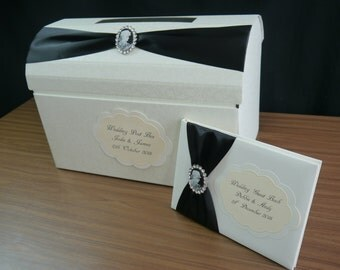 Wedding Post Box & Guest Book, Personalised, Cameo Embellishment, All Colour Ribbon