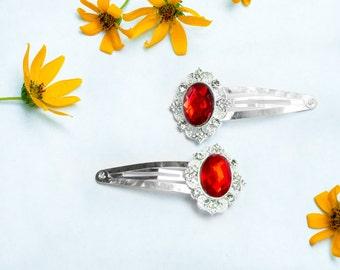 Red Rhinestone Clips - Rhinestone Clip - Bridal Hair Accessory - Flower Girl - Hair Jewelry - Bridal Party - hair clips with rhinestones
