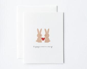 Cute Anniversary Card, Bunny Anniversary Card, Anniversary Card