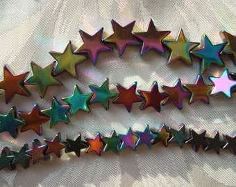 AAA+ Rainbow Plated Hematite Gemstone Star Beads. 3 Sizes> 6, 8, & 10mm. Full or 1/2Strands. Only Perfect Stars! ~USPS Ship Rates/Oregon