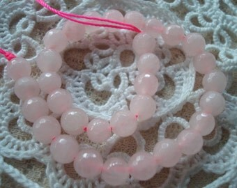 Promo! Faceted Rose Quartz Rounds. 2 Sizes. 6 & 8mm 8inch Half Strands. Pink Faceted Natural Hand Cut Earth Mined Stone. USPS Ship Rates/OR.