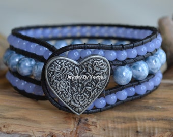 Blue Beaded Leather Cuff Bracelet Beads On Leather Three Row Southwestern Boho Bohemian Heart Button Love Bracelet Gifts For Her Yevga