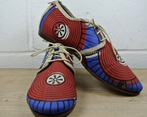 Size UK5.5 US8 EU39:Ladies Handmade Oxford Style shoe.  Dutch wax print with leather upholster. All hand constructed.