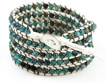 Five Tiered Wrap Blue Watercolor Beaded Bracelet on White Waxed Rope and Silver Button Closure