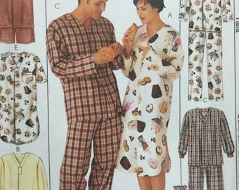 McCall's 2950 Pajama Sewing Pattern, Nightshirt, Sleepwear, Pajama Pants, Pajama Top, Pull on Pants,Booties, Hat, Men's Pajamas, Size 40-42