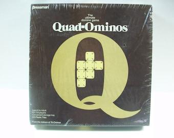 Quad-Ominos Dominoes Game, Vintage Sealed Pressman Domino Game, USA 1978