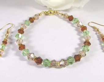 Amber, Champagne and Apple Green Swarovski Crystal Bracelet and Earrings