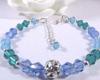 Mediterranean Sea Blue and Green Swarovski Bracelet