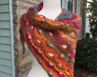Gorgeous crochet virus shawl,great fall colors, green and orange handmade shawl, soft acrylic yarn