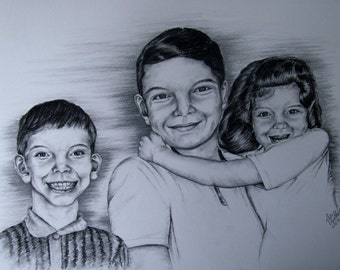 Custom made charcoal drawing - 11 x 14 -Example only