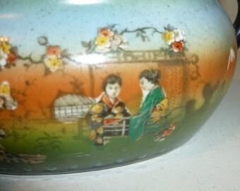 Vintage Sugar Bowl With Asian Motif
