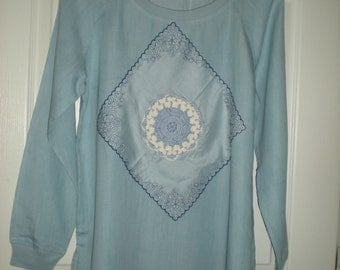 Womens light weight denim long sleeve pullover shirt with vintage accents