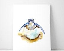 Turtle art - baby turtle Watercolor painting - Art Print - turtle in egg Animal Painting - nursery set baby animal art